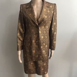Emanuel ungaro suit blazer skirt brown gold Sz 46